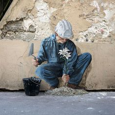 """Charles Leval, alias Levalet, """"To plant a seed is to believe in tomorrow."""" 'Resilience', 2021 Paris 11ème, Paris France, Street Installation, Concrete Jungle, Street Artists, Urban Art, Contemporary Artists, Graffiti, Instagram"""