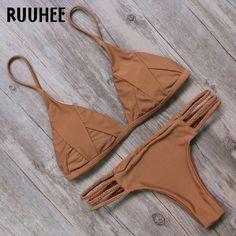 RUUHEE Bikini Swimwear Swimsuit 2017 Mais Recente Maiô Mulheres Biquini Push Up Bikini Set Bandage Praia Maillot De Bain Femme