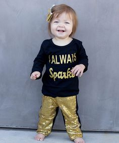 Love this Black & Gold 'Sparkle' Tee & Leggings - Infant, Toddler & Girls on #zulily! #zulilyfinds
