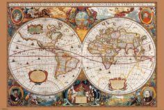 Mapa-múndi, século 17 Fotografia na AllPosters.com.br