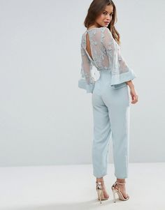 ASOS PETITE Jumpsuit with Lace Bodice and Contrast Satin Pant - Blue