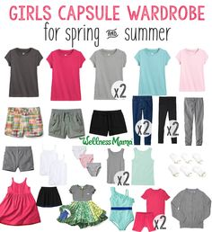 This girls' capsule wardrobe has a two-color palette and neutral accessories for spring and summer. They love the simplicity, I love the reduced laundry!