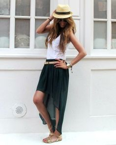 Cute summer outfit! skirt, hat, sandals, tank, arm candy
