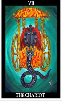 Belial, clothed in black armor, burning eyes and wearing a crimson red cloak, guides a chariot embodied in fire. Belial leads the chariot by a Qlippothic Dragon-serpent. Belial is in traditional Satanism and Luciferian ideology the Lord of the Earth, Power through the application of reason and logic. Belial in this instance relates to the subconscious invoking conscious wisdom of the World. The Chariot is the vehicle of this force, relating to the Body. Clothed in flame, it is symbolic of…