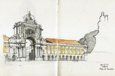 Lisbon city centre as you've never seen it before. Check out these sketches from artists intrpreting the historical city of Lisbon. Landscape Drawings, Architecture Drawings, Beautiful Drawings, Beautiful Landscapes, Building Sketch, House Drawing, Urban Sketchers, Sketchbook Inspiration, Watercolor Sketch