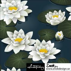 Sold by metre Organic Cotton Elastane Approximately 160 cm wide 220 gsm Znok Design Water Lilies, Print Patterns, Lily, Plants, Things To Sell, Design, Google, Fabric, Tejido