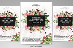 wedding invitation flyer template #anniversary #art #bride #card #celebration #ceremony #destinationwedding #elegant #exotic #flowers