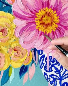 "Flower Painting Discover Reservation: Limited Edition Commission of ""Woven Together"" Julie Marriott Acrylic Painting Flowers, Acrylic Art, Flowers To Paint, Painted Flowers, Pattern Floral, Colorful Paintings, Flower Paintings, Diy Canvas Art, Graphic"