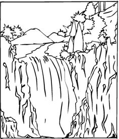 waterfall 2 coloring page - Coloring Page Waterfall