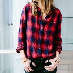 Madewell Fall 2014 catalog. Madewell ex-boyfriend shirt worn with coated leggings. #fallmadewell