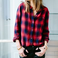 sneak peek / Madewell Fall 2014 catalog. Madewell ex-boyfriend shirt worn with coated leggings. #fallmadewell