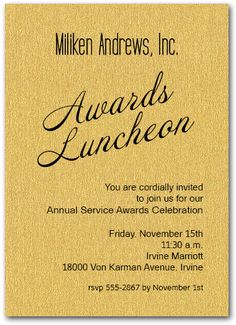 Business Invitations: Gold Sparkle Business Awards Invitations