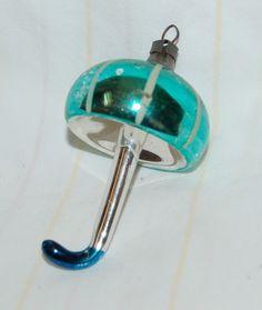 Vintage green mercury glass umbrella ornament