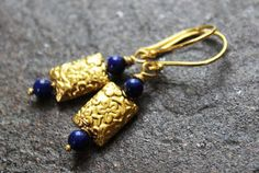 Handmade Earrings Lapis and Vermeil by JensFancy on Etsy, $38.00