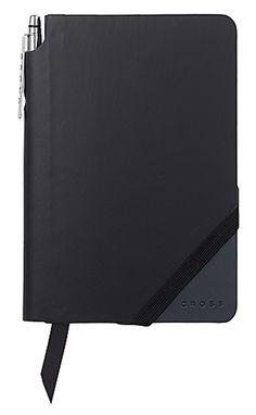 "Cross JotZone Journal with Pen 4.75"" x 5.5"", Black & Navy Blue, Lined - iPenstore"