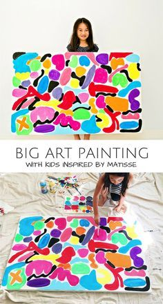 Big Canvas Art Painting with Kids Inspired by Matisse. Fun art project for an art docent lesson or rainy day. Group Art Projects, Cool Art Projects, Projects For Kids, Big Canvas Art, Kids Canvas, Painting For Kids, Art For Kids, Drawing Videos For Kids, Kids Inspire