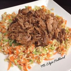 ✨Lunch break❗️Made myself a plate of pulled pork with veggie slaw.  Took a picture before I poured red hot and guacamole all over this plate of #NomNom lol  Love crockpot meals.  https://www.facebook.com/TeamJERF