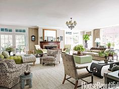Family Rooms are so much nicer if there's enough space for several seating areas, and some nice 'spots' to sit and visit, or sit and read, or take a nap....