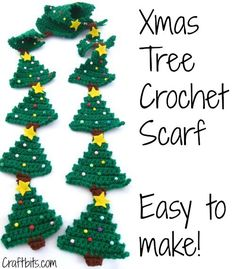 Christmas Tree Crochet Scarf (the tree makes a great applique or ornament as well )