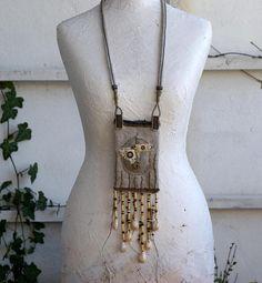 Treasure pouch fabric art necklace medicine bag tribal