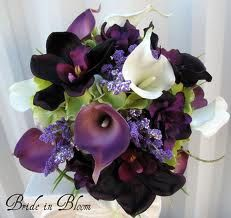 purple and grey wedding bouquets artificial - Google Search