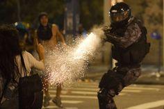 Military police shoots teargas gun, brazil