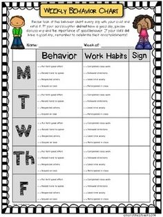 Weekly Behavior Chart {Editable & Free} by More Time 2 Teach Individual Behavior Chart, Weekly Behavior Charts, Classroom Behavior Chart, Kindergarten Behavior, Classroom Behavior Management, Behaviour Management, Behaviour Chart, Student Behavior Log, School Behavior Chart