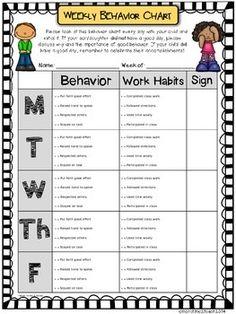 WEEKLY BEHAVIOR CHART {EDITABLE & FREE} - TeachersPayTeachers.com