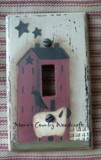 Saltbox Light Switch Cover E-pattern #0001 $6.00 USD I designed this light switch cover pattern and painted a saltbox house, sheep, crow and small fence. It is painted on a plastic cover and I give you instructions on how to prep it before painting.