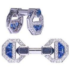Cartier Magnificent Art Deco Sapphire Diamond Cufflinks