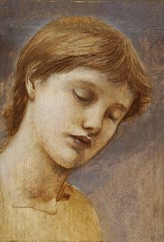 Study of a Head,  Edward Burne-Jones. English Pre-Raphaelite Painter, (1833-1898)