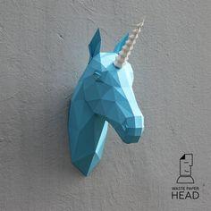 Die Papierschablone Einhorn Kopf-print von WastePaperHead auf Etsy