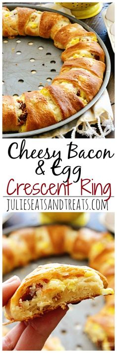 Cheesy Bacon & Egg Crescent Ring Recipe ~ Flaky Crescent Rolls Stuffed with Scrambled Eggs, Cheese, and Bacon for a Delicious Breakfast Recipe!