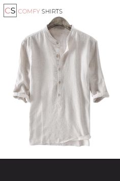 Best Chance for 2018 Summer cotton Linen Shirts Men Half Sleeve Chinese Shirts Men Striped Shirt Pullover Collar Shirts Social Clothes If Yo. Half Sleeves, Shirt Sleeves, Chinese Shirt, Herren Style, Tee Shirt Homme, Henley Shirts, Casual T Shirts, Collar Shirts, Mens Fashion