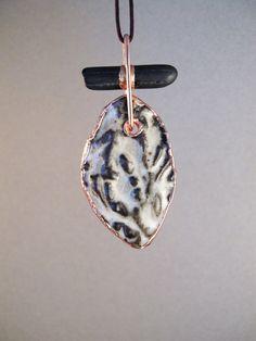Electroformed stoneware and beachstone necklace by AurumgirlStudio