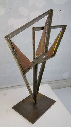 Industrial Painted Metal Abstract Sculpture,,John Metzan at 1stdibs