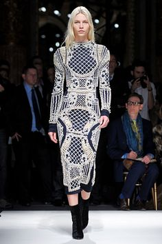This dress is both weird and totally fierce.  #Balmain #Paris #FashionWeek