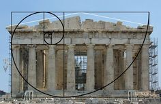 Spiral imposed on the Parthenon showing the golden mean.