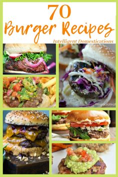 Celebrate National Burger Month with this huge collection of 70 Burger Recipes! Beef, Chicken, Turkey, Vegan and other meats. PLUS enter to win Smoked Burgers, Grilled Turkey Burgers, Burger Meat, Pork Burgers, Gourmet Burgers, Hamburgers, Gluten Free Burger Recipe, Burger Recipes, Grilling Recipes
