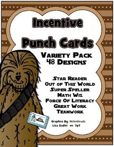 Motivate your students by rewarding them with a special prize or privilege. These incentive punch card offer a simple way to keep track of students good choices as they work toward their prize. 48 designs and each card has 20 punches. The cards are 2 1/2 x 4 and fit perfectly in a pocket chart STAR READER YOU ARE OUT OF THIS WORLD SUPER SPELLER MATH WIZ FORCE OF LITERACY GREAT WORK GREAT TEAM WORK