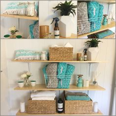 DIY bathroom shelves. Easy, simple and very cheap. Great for storage!
