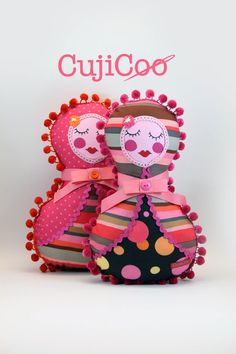 Candy stripe Russian Doll  Girl Pillow Toy  decorative by CujiCoo
