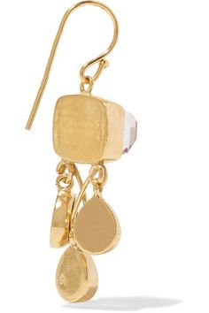 Katerina Makriyianni - Gold-plated, Quartz And Crystal Earrings - Green - one size