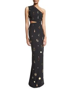 One-Shoulder Jewelry-Embellished Gown, Black by Stella McCartney at Neiman Marcus.