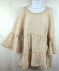 Spense Womens L Latte Beige Lace Peasant Top Blouse Boho Shirt Bell Sleeve NEW $28.0