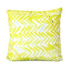 highlighter yellow patterned pillow cover. to go on top of gray couch?