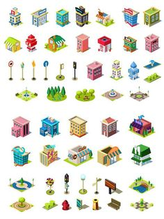 Isometric Vector Icons Set for City Constructor - Vector EPS Isometric Sketch, Isometric Map, Isometric Design, Map Design, Vector Design, Building Icon, Affinity Designer, Map Art, Colorful Pictures