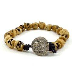◊ Men's simple and stylish beaded bracelet handmade with approx 9-10mm natural bone skull beads beads and black leather cord.    ◊ The bracelet features a
