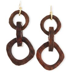 Nest Carved Wooden Link Earrings ($100) ❤ liked on Polyvore featuring jewelry, earrings, brown, statement earrings, wooden jewelry, earring jewelry, brown earrings and nest jewelry