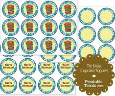Printable Blue Tiki Mask Cupcake Toppers from PrintableTreats.com